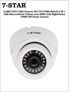 7-STAR* CCTV-Ultra Full-HD SONY Starvis 1920*1080P 2.0 Megapixel Hybrid 4 in 1(AHD/TVI/CVI/960H) indoor/outdoor IP66 Weatherproof IP66 Smart 18IR Dome Security Camera (2.8mm Wide-Angle)