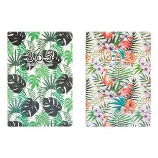 PO Illustrated Leaf Pattern / Floral Flamingo / Floral Leaves 365 Daily Planner Note Book Notebooks 3 Designs