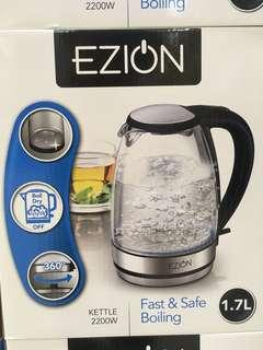 EZION Glass Kettle 1.7L Fast and Safe Boiling