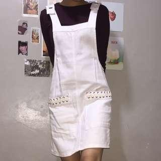 White Overall Dress