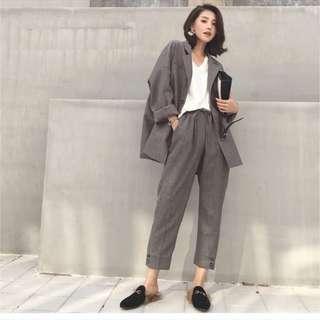 🚚 灰色寬鬆西裝外套(大尺碼)✅