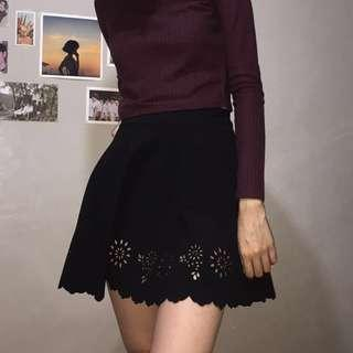 Black Perforated Skirt
