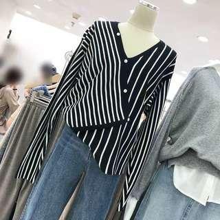 Stripes Fake Button Slanted Top