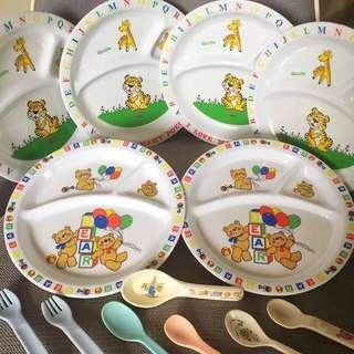 6 Big Divider plates and Forks & Spoons CUTLERY SET. CHILDREN FUN BABY KIDS FEEDING Colorful PLATE Mealtime Set.great as birthday gifts. Bear & animal Set. Philips Avent Toddler Mealtime Set
