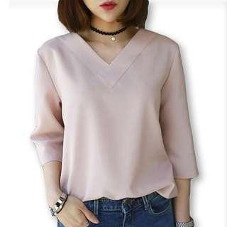 #PrelovedWithLove Korean Pink V Neck Blouse