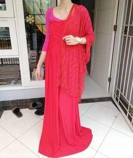 Preloved dress merah kemben model india