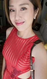 紅色 小禮服 洋裝