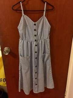 Bnwot blue stripe midi dress with pockets size M