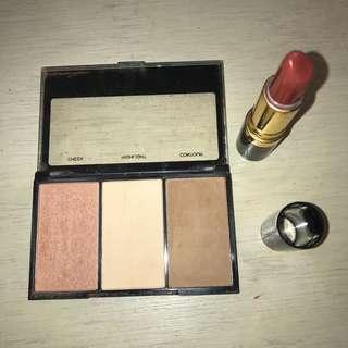 Bundle BYS contour/blush palette revlon lipstick