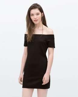 ASOS elegant off shoulder onepiece dress skirt blouse top shop 歐美超靚收身露肩黑色 一字領 中袖連身裙 短裙 a字裙 襯衫
