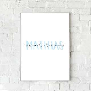 🚚 Customisable Name Wall Art – Boys Blue