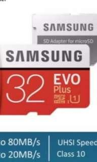 Brand New Samsung 32GB Evo Plus MicroSD Class 10 W Adapter