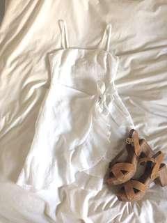 White frill detail wrap dress summer