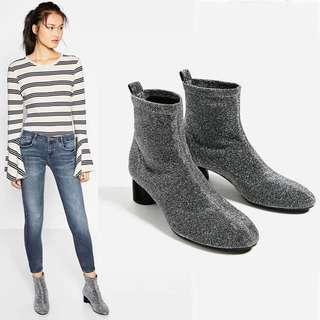 Silver Shimmer Ankle Boots size 35 36 37 39