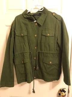 Brandy Melville green army jacket with fur inside