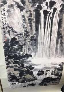 A Chinese hanging scroll Hand Painted On Paper Landscape Painting