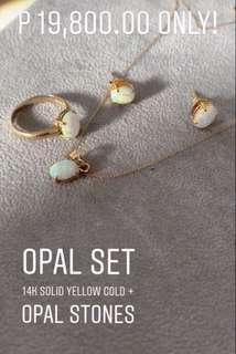 Opal Earrings ring pendant necklace set