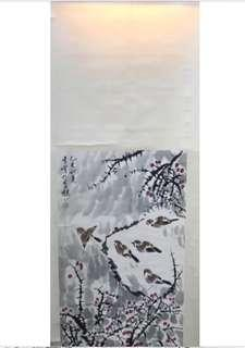 A Chinese hanging scroll hand painted on paper scenery bird painting with wood roller