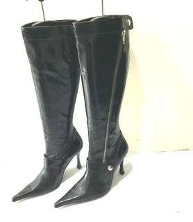 🚚 SENSE1991亮真皮.幾乎全新!實穿搭有型高統靴!統高38cm統寬18cm跟高10cm.25.5號.鞋撐不包括!