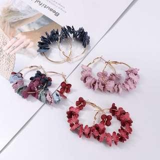 hoop flower earrings