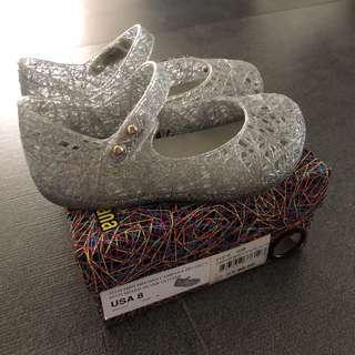 EUC US 8 Mini Melissa Silver Campana Shoes