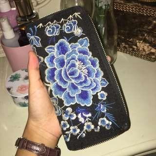 Blue Fower Embroidered Long Wallet