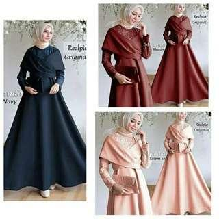 Pre order Muslimah long sleeve Miranda maxi dress blue peach red