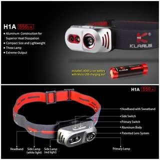 (550 Lumens) Klarus H1A Lightweight LED Headlamp_14500 Battery Included