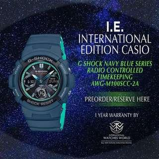 CASIO INTERNATIONAL EDITION G SHOCK MULTIBAND 6 NAVY BLUE SERIES AWG-M100SCC-2A