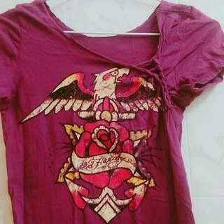 專櫃正品 Edhardy 老鷹 玫瑰 短袖上衣 T恤 潮牌 美國 紫色 葡萄紫色 辣妹 歐美