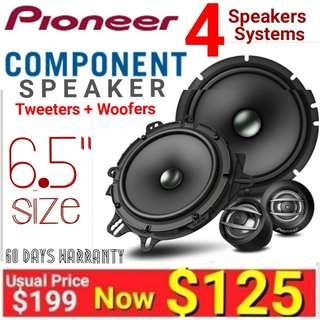 """Pioneer Car Component Speaker ( 4 speakers - 2 x tweeter speakers + 2 x 6.5' woodfer speakers.wirh built-in crossover)  Size: 6.5""""/16cm size. model TS-A1600. UP: $199  Special Offer: $125.00."""