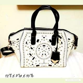 Fashionable Women's Handbag with shining studs and crystals. Large, Size as in photo. Man-made Leather. White. Good & Clean Condition. $18 Clearance Offer! whatsapp 96337309.