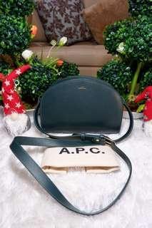 AUTHENTIC A.P.C. HALFMOON GREEN CROSSBODY BAG