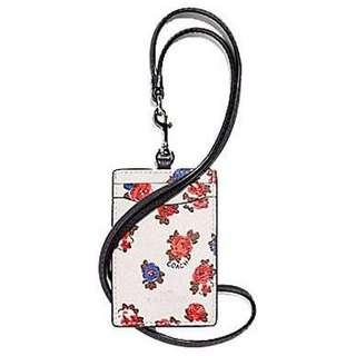 BN New Coach ID Lanyard Canvas Leather Card Case Holder Auth Authentic White Floral Tea Rose