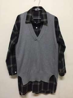 🚚 g__morning|超柔軟純色毛衣背心+襯衫套裝