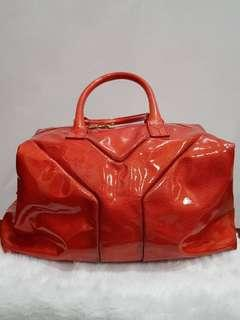 Preloved Authentic YSL Sac Easy Fleur Corigee Pattern Patent Leather