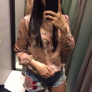 Zara floral print blouse