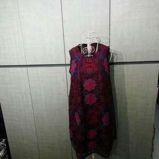 Burgundy colour embroidered lace dress made in Korea