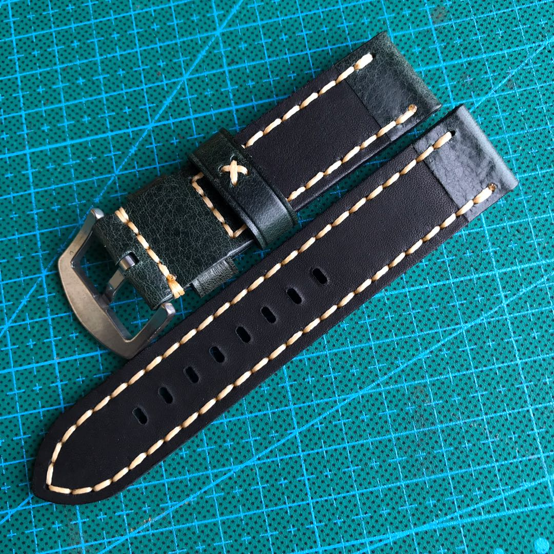 2cda2ac96 12.12 Sale: 22mm Dark Green Watch Strap Genuine Leather, Men's Fashion,  Watches on Carousell