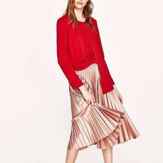 Zara beautiful metal light pink rose midi pleated dress skirt blouse asos self portrait lane crawford 歐美超靚款珍珠粉紅色金屬面收身百摺裙 半截裙 中長裙 襯衫