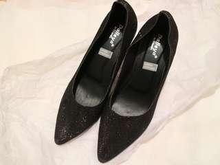 Glitter heels sepatu pesta. Reprice