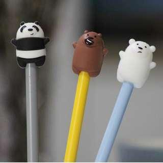 🚚 3 x We Bare Bear Gel Pens