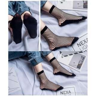 readystock Women Fishnet Net Socks Mesh Lace High Ankle Hot Punk Socks