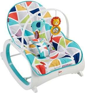 ~Ready Stocked~ Fisher-Price Infant-to-Toddler Rocker, Geo Multicolor - Blue