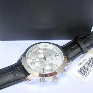 Bulova Classic Silver Dial Chronograph Black Leather Strap Men's Watch