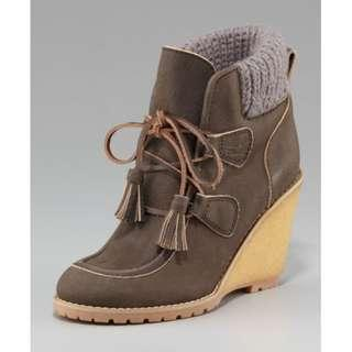 See By Chloe Brown Womens Wedge Ankle Boot Size 6.5