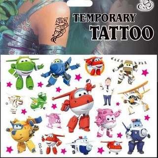 Super Wings party supplies - kids tattoos / party tattoos / party gifts / goodie bag gifts