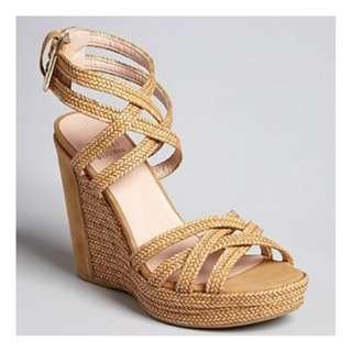 Stuart Weitzman Reins Tan Straw Wedge Shoes Made in Spain