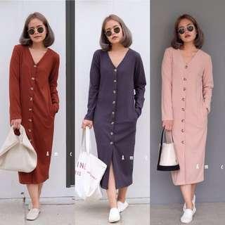 [BEST SELLING] [PO] AMC Ribbed Buttons Maxi Dress