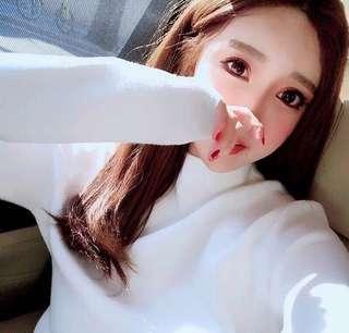 Korea beautiful soft white warm knit blouse top shop 靚初冬閃閃白色溫暖長袖針織襯衫